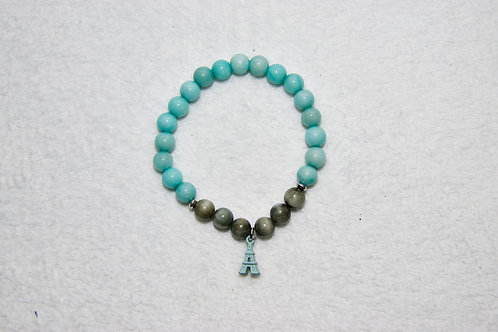Duo Beaded Bracelet with Eiffel Tower Charm