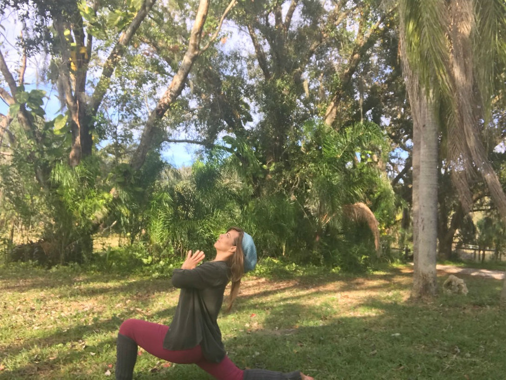 Yoga Pose for Winter Low Lunge in Nature