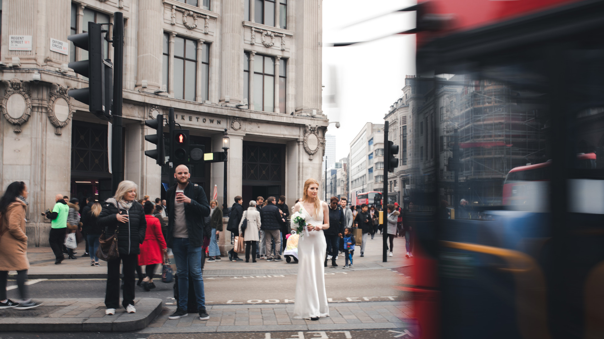 Bride with Bus in Regent Street Central