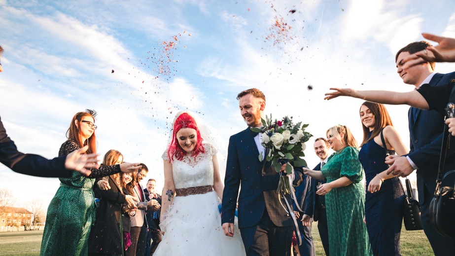 Confetti shot, alternative Winter Wedding, Kent