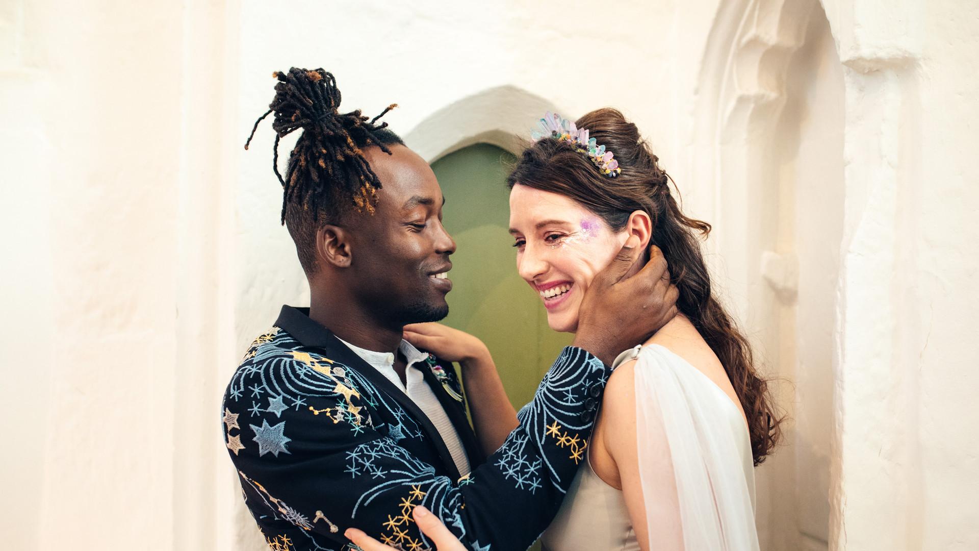 Celestial Wedding Couple Portrait at Lovekyn Chapel, Kingston, Surrey