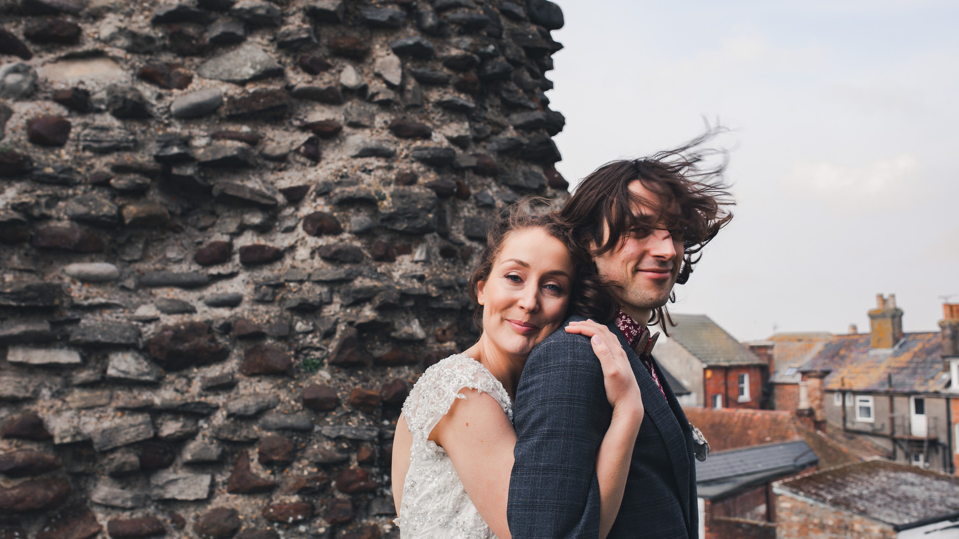 Windswept Couple Portrait at Christchurch Priory, Kings Arms Hotel.