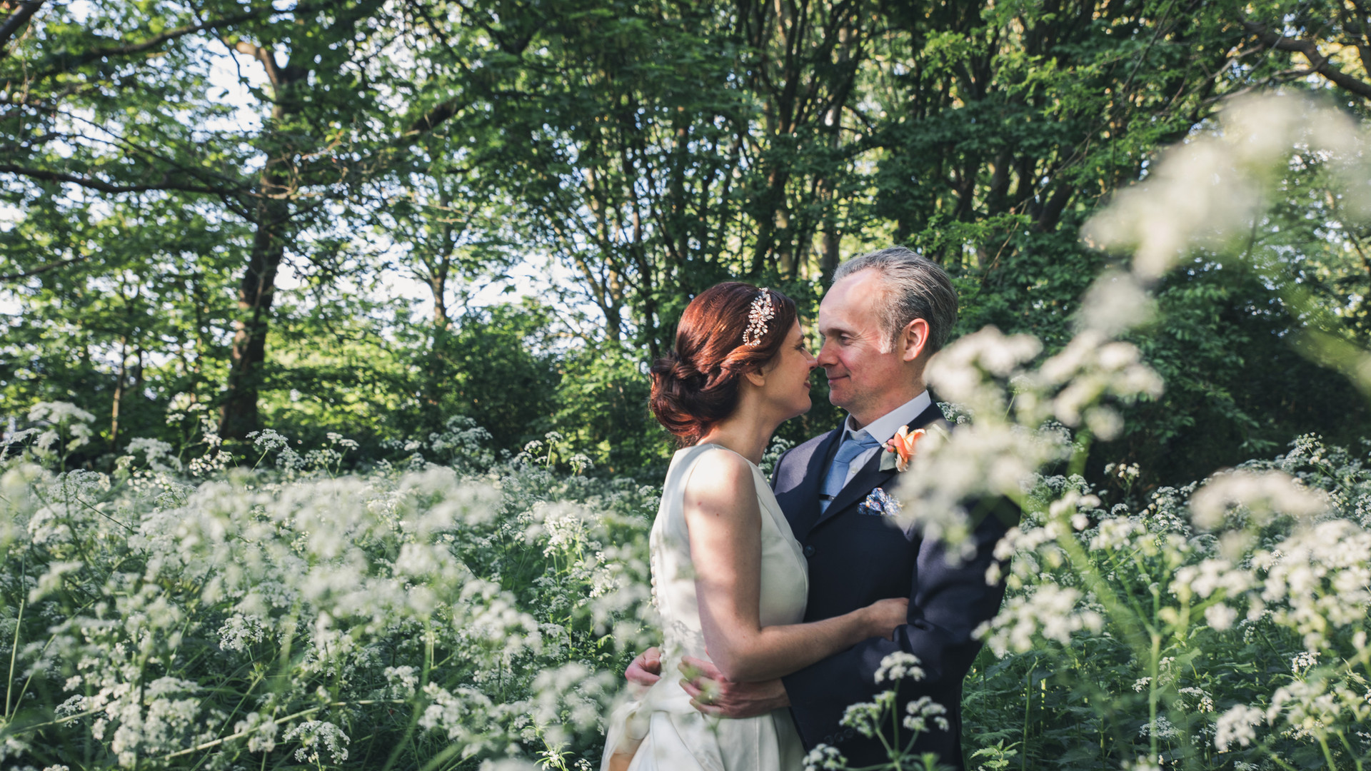 Couple Wedding Portrait in Summer Woodland at Orleans House Gallery, Twickenham