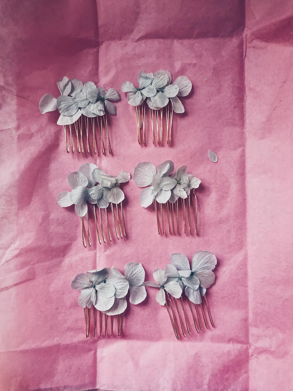 Hydrangea hair grip pin slides accessories Lauren wheeler Claire Bemister photography