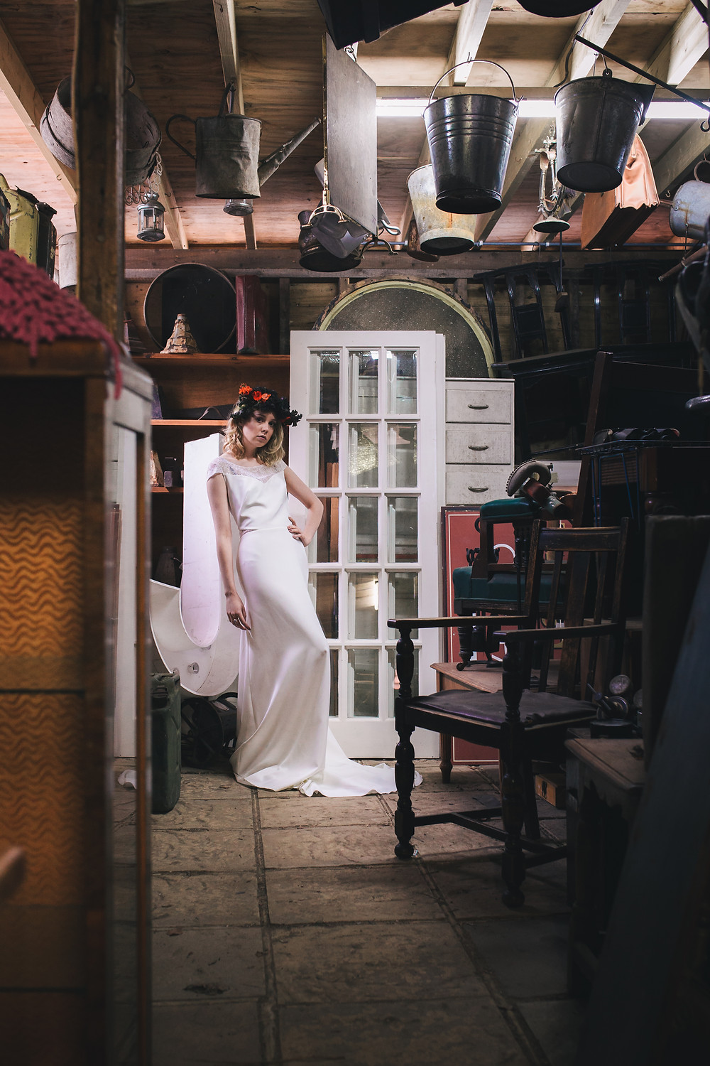 eclectic alternative industrial wedding inspiration muscat wedding dress rock the frock bridal clairebemisterphotography