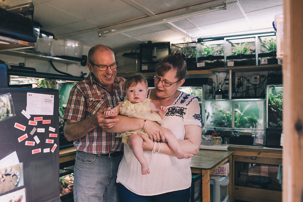 documentary photography session at home with reptile pets and grandparents