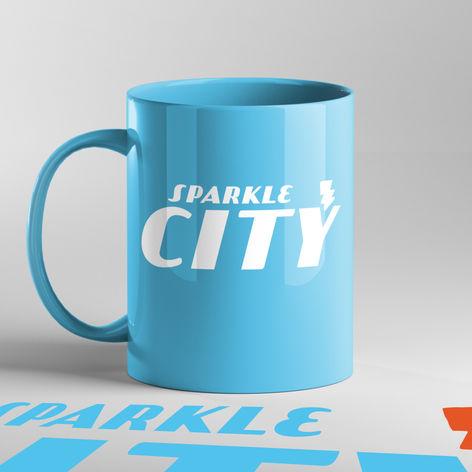 Sparkle City Bolt Logo on Mug