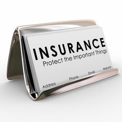 Insurance - Protect the Important Things words on business cards in a holder for a sales person or a