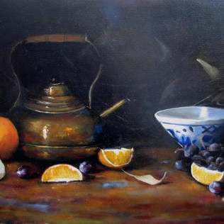 """"""" Copper Pitcher and Oranges"""