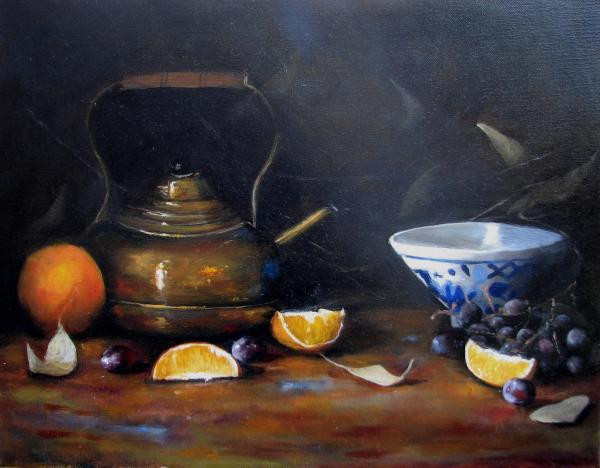 """ Copper Pitcher and Oranges"