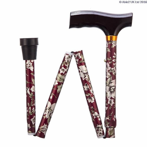 "Folding Adjustable Walking Sticks - Burgundy Flower 29-33"" VAT EXEMPT"