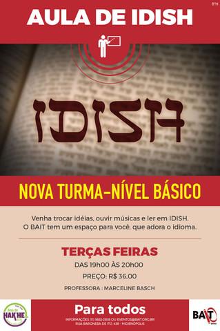 AULAS DE IDISH ÀS TERÇAS-FEIRAS
