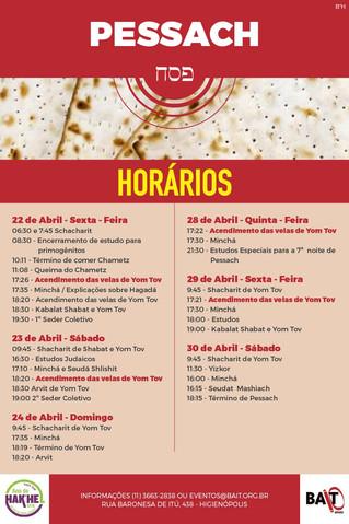 PESSACH - HORÁRIOS
