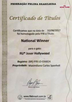 Certificado  RU* Joser Hollywood