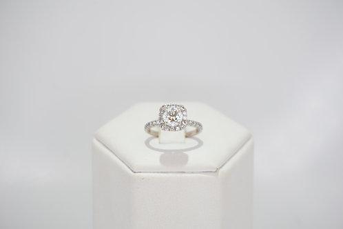 GIA 18ct White Gold Diamond Halo Ring