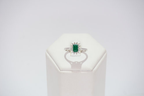 9ct White Gold Emerald and Diamond Halo Ring