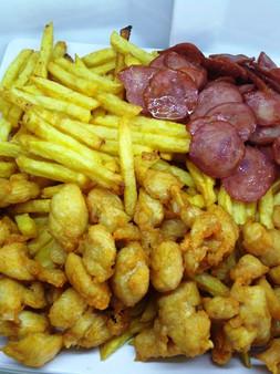 Batata, frango e calabresa