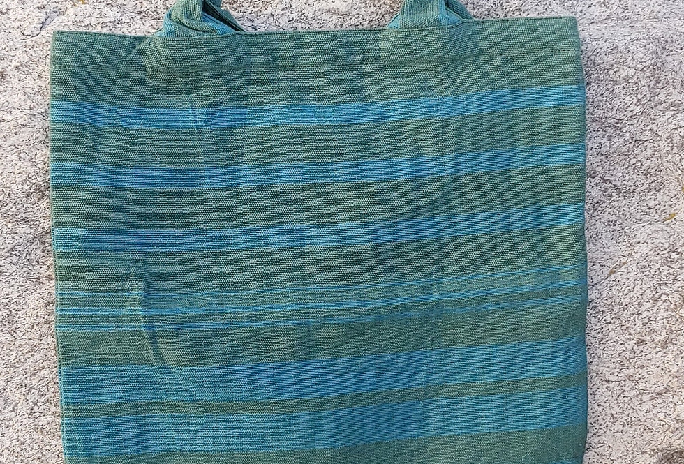 Handwoven Cotton Carry Bag Olive Green with Blue Stripe
