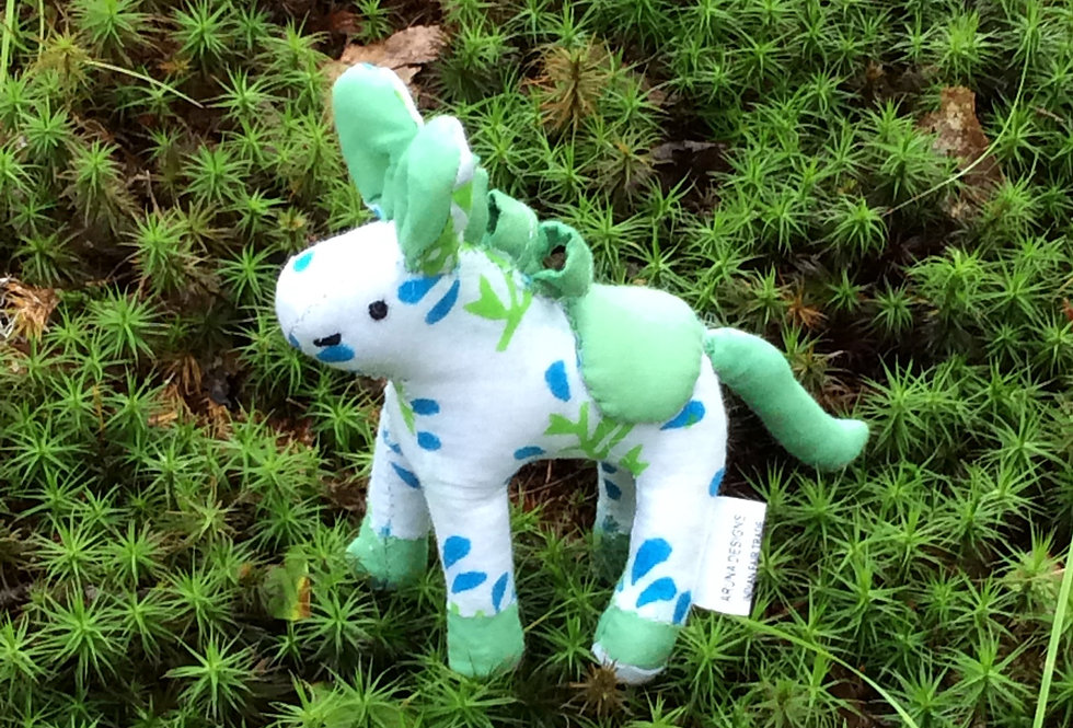 Small Horse -white with spring green and blue
