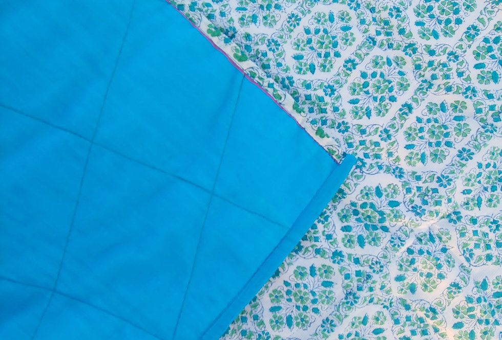 Cotton Quilted Baby Blanket Blue Green Flower Print