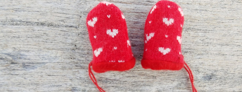 Red Wool/ Cashmere Baby Mittens with Hearts
