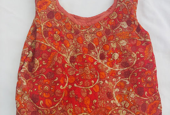 Orange Floral Pattern Rayon/ Cotton Shopping Bag