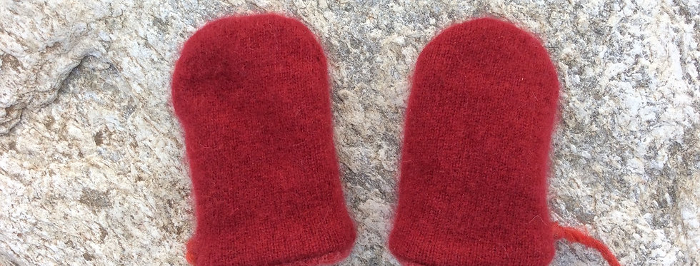 Cashmere Baby Mittens -Dark Red with Dusty Rose