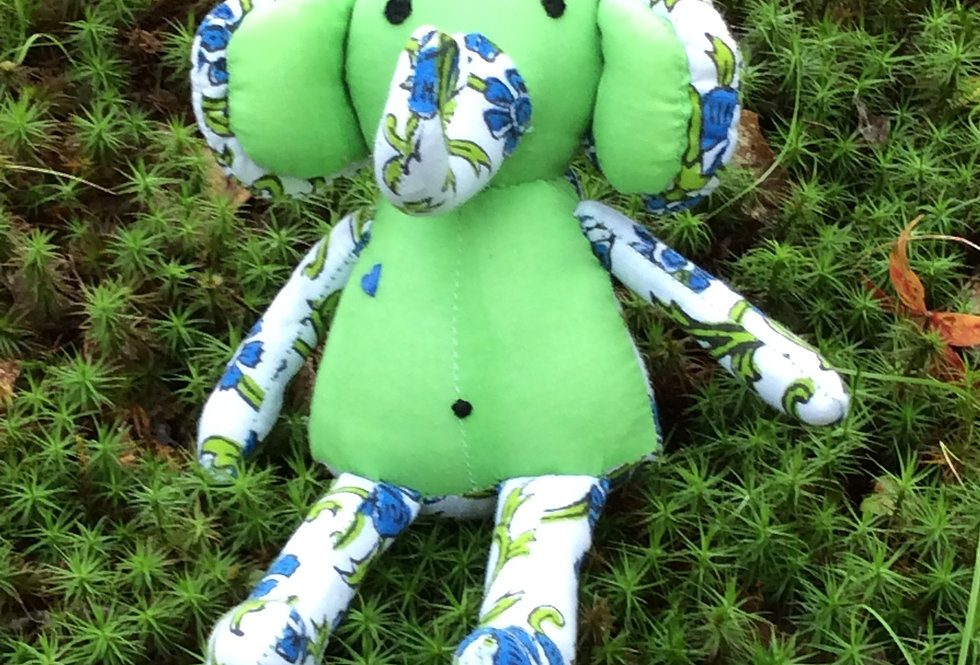 Medium Elephant - Spring green with white and blue design