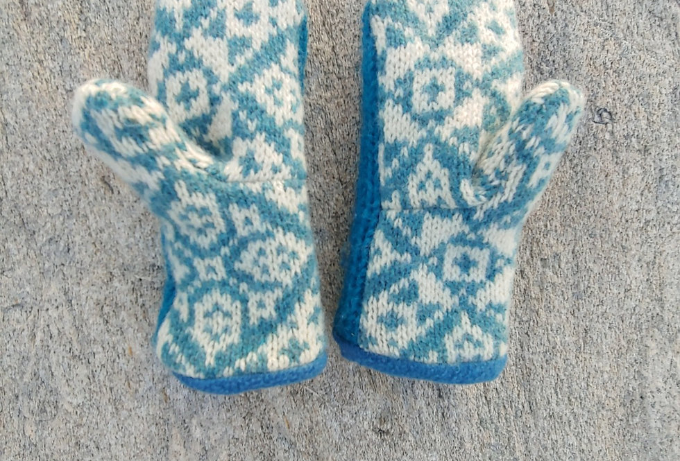 Teal and White Patterned Wool Mittens with fleece lining