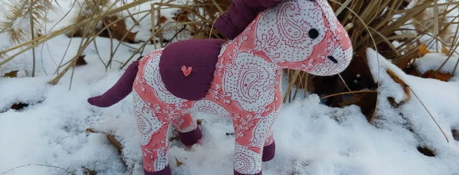 Medium Horse Pink with Purple and White Paisley Design
