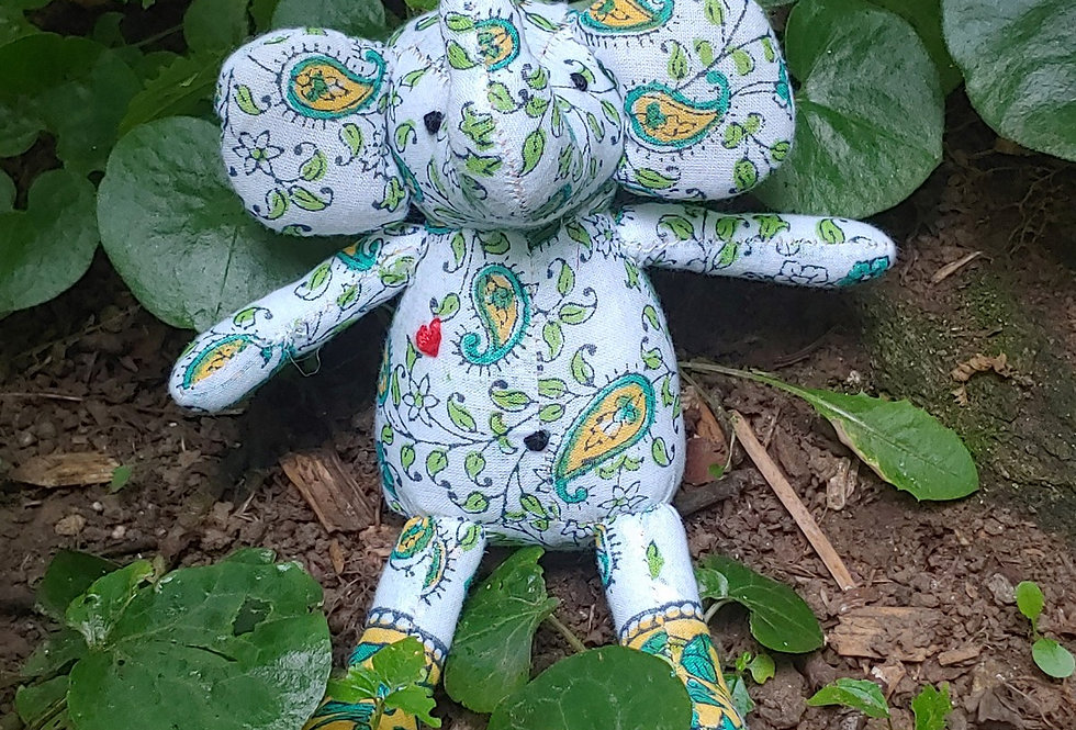 Small Elephant - white with Green and Gold Paisley pattern