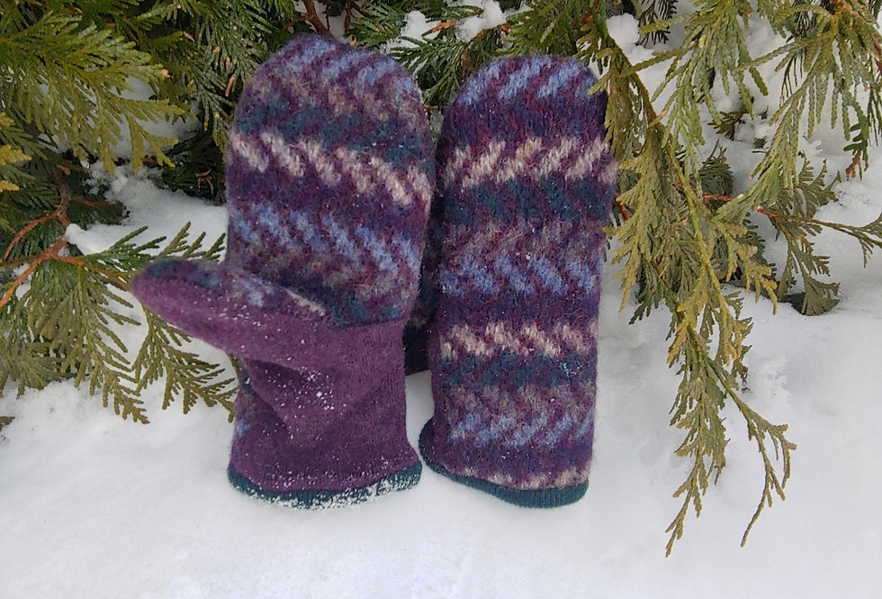 Purple Pattern Wool Mittens with Cashmere Lining