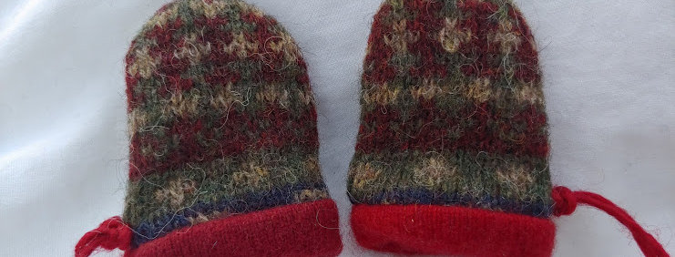 Wool \ Cashmere Baby Mittens - Maroon, Olive, Red