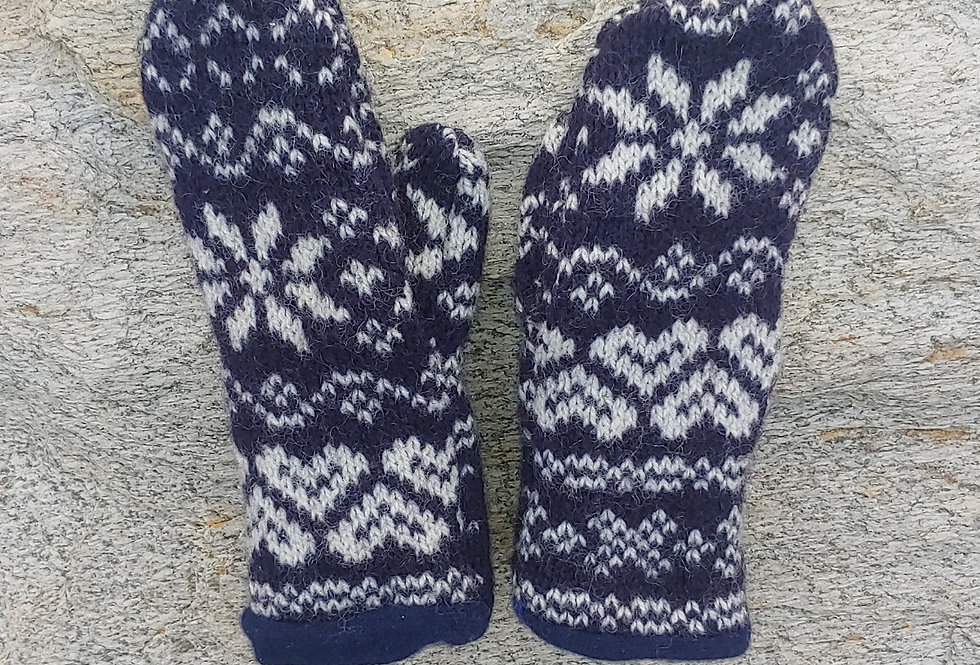 Wool BlueSnowflake Mittens with Cashmere Lining