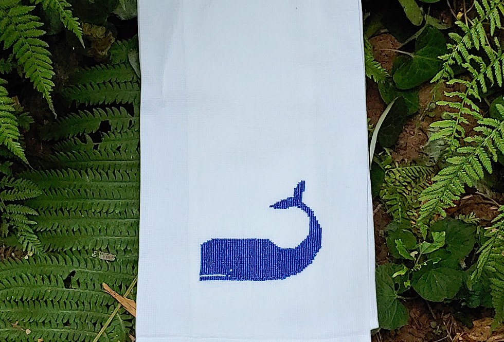 Embroidered Cotton Whale  Towel