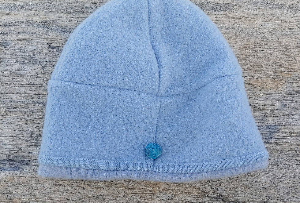 Light Blue Boiled Wool Hat with Cashmere Lining