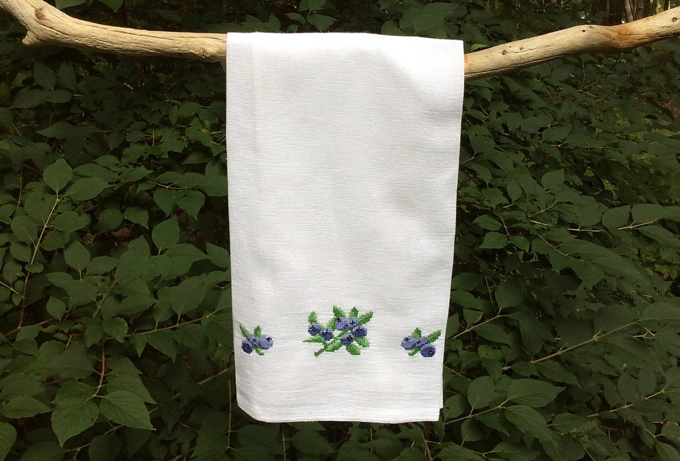 Blueberry - Hand Embroidered Towel