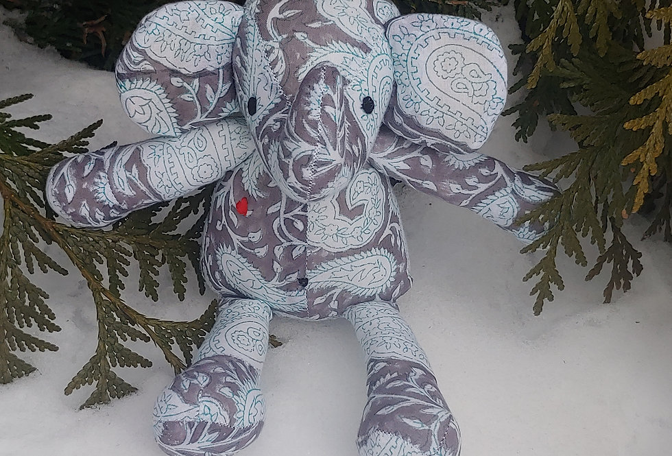Large Elephant Grey with Blue and White Paisley Design