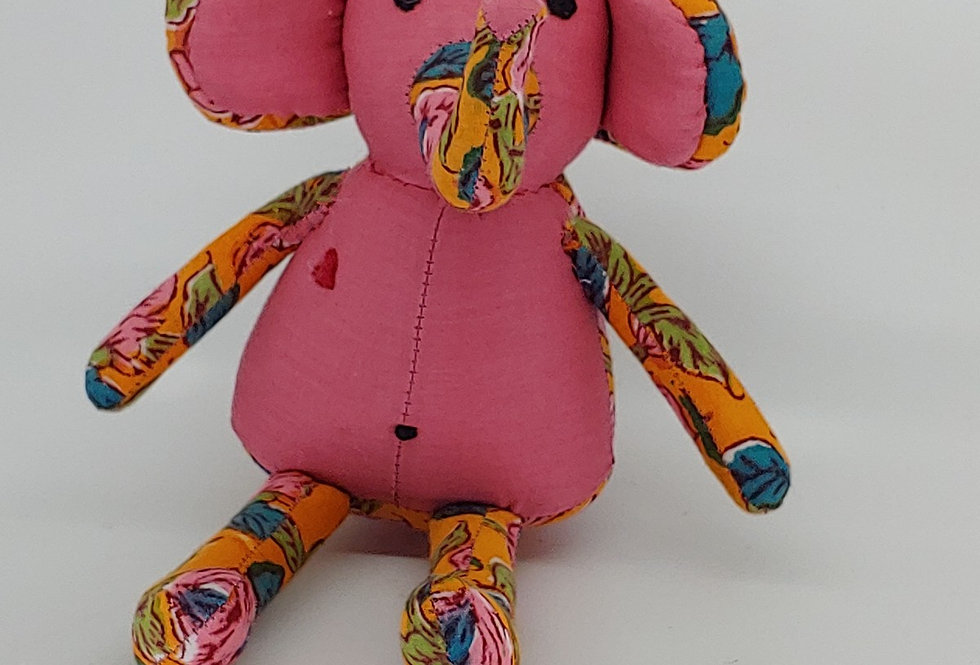 Medium Elephant - Pink with Gold and Green pattern