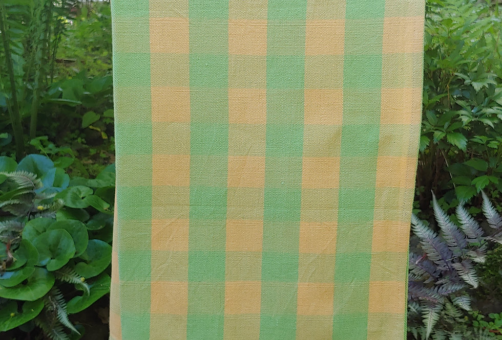 Green and Yellow Squares Handwoven Towel
