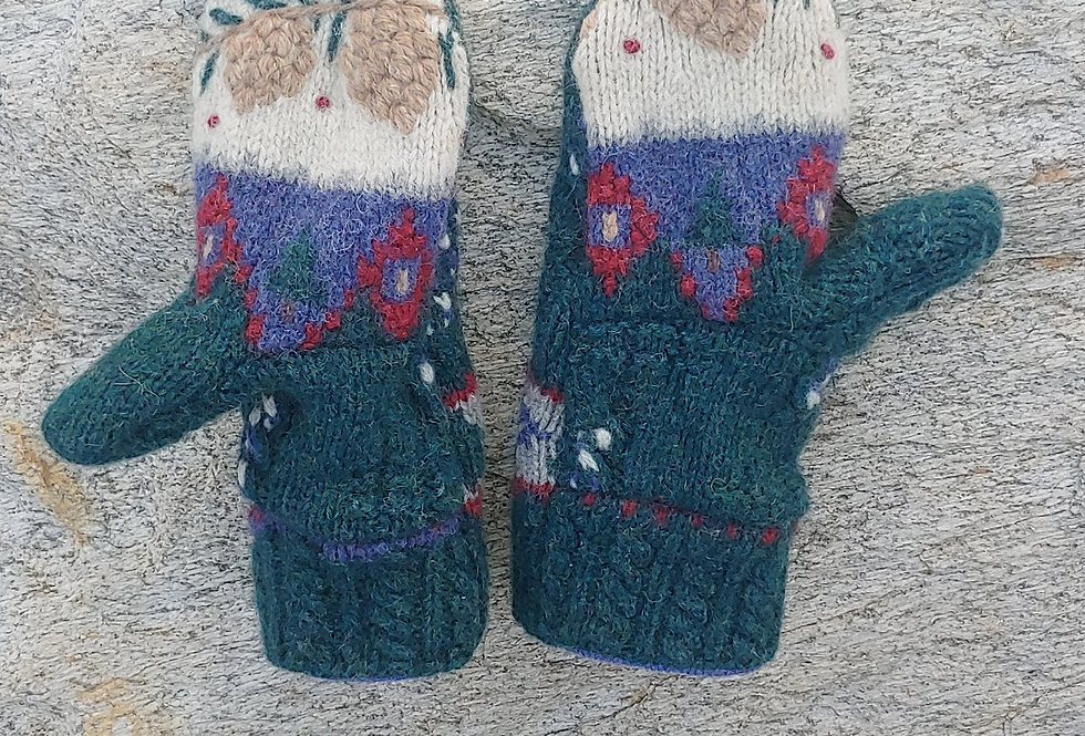 Wool Mittens with Pine Cone Design and Cashmere Lining