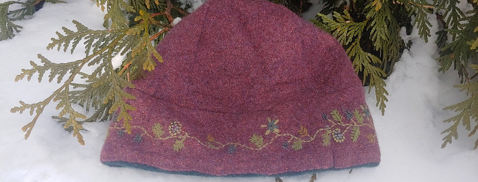 Purple embroidered Wool Hat with Cashmere Lining