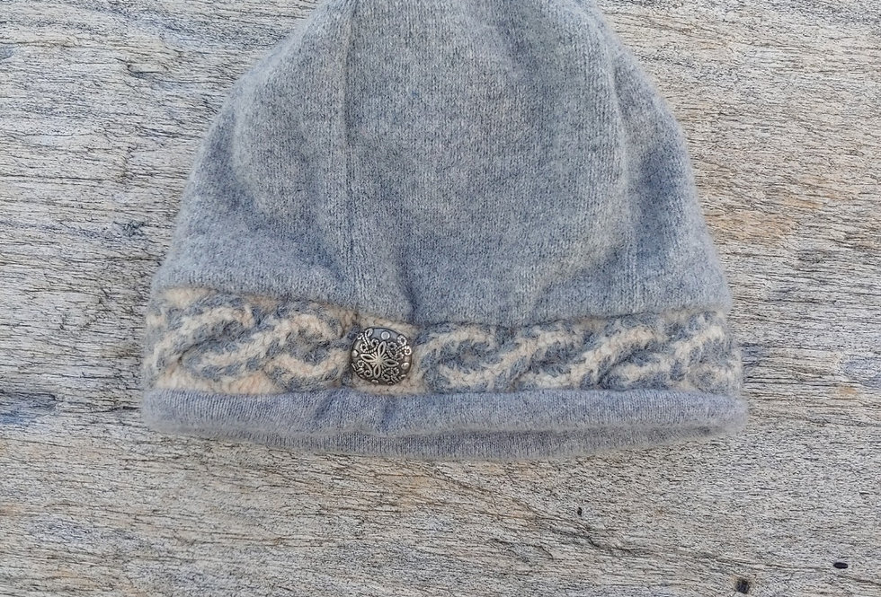 Grey Wool Cable Watch Cap with Button and Cashmere Lining