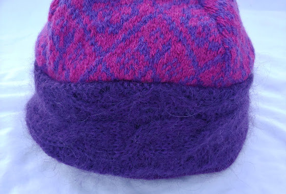 Mohair Cap with Geometric Design/Cashmere Lining