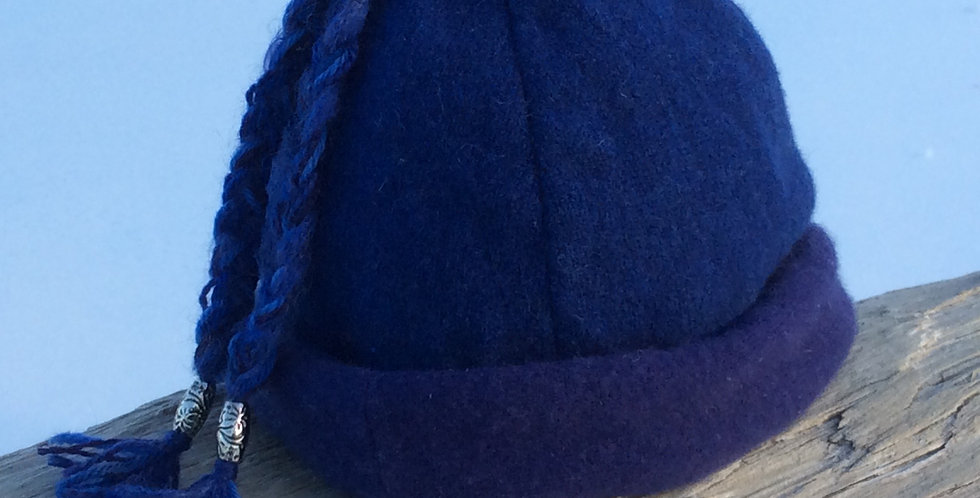 Blue Wool Cap with tassels  and Cashmere Lining