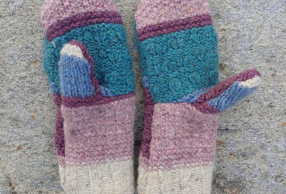 Mauve / Green Cable Wool Mittens with Cashmere Lining