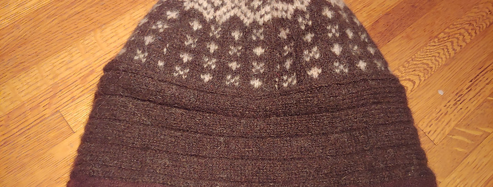 Brown Wool Cap with White Geometric Pattern /  Cashmere Lining