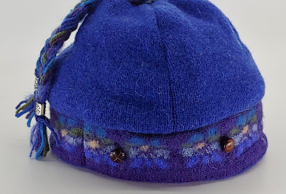 Blue Wool Cap with Flower Border, cashmere lining