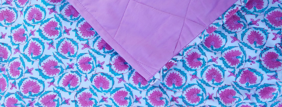 Quilted Cotton Baby Blanket Pink Flower and Green Leaf Design