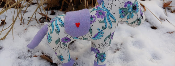 Medium Horse White with Violet and Blue Flowers